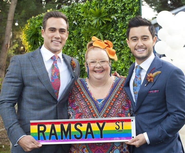 Australia's favourite lesbian Magda Szubanski will officiate Neighbours big gay wedding.