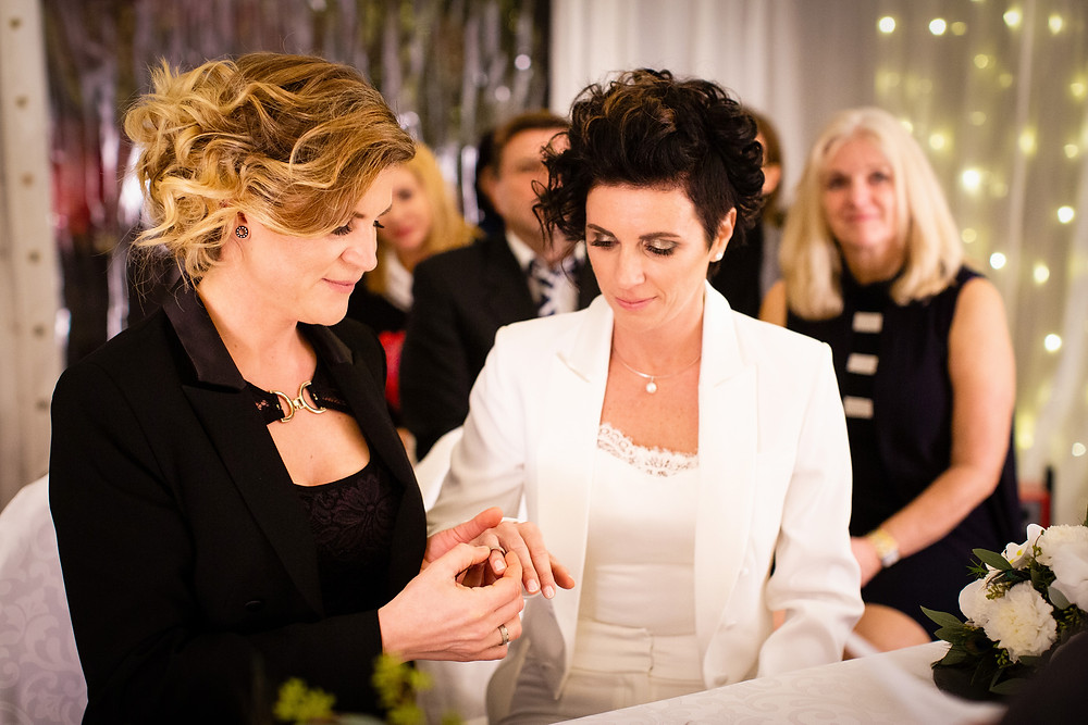 Austrian lesbian couple Nicole Kopaunik and Daniela Paier, both 37, who became the first same-sex couple to legally wed in Austria since same-sex marriage became law on January 1, 2019.
