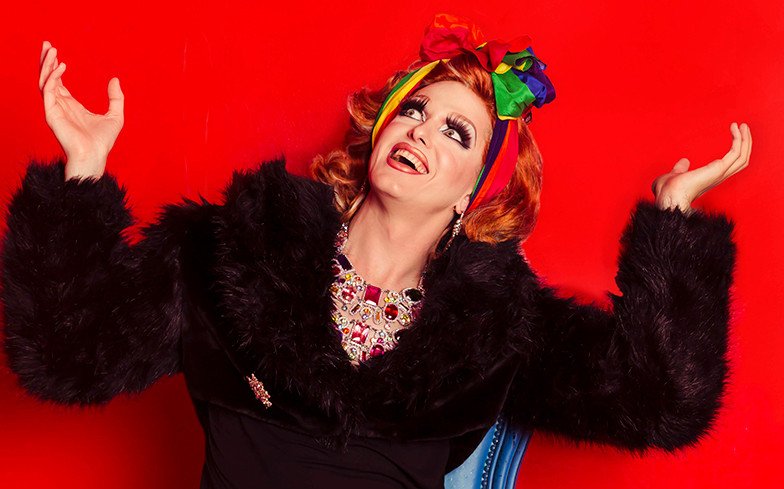 Drag performer Mable Syrup models the limited edition Pride scarf, released to celebraate the Sydney Gay & Lesbian Mardi Gras