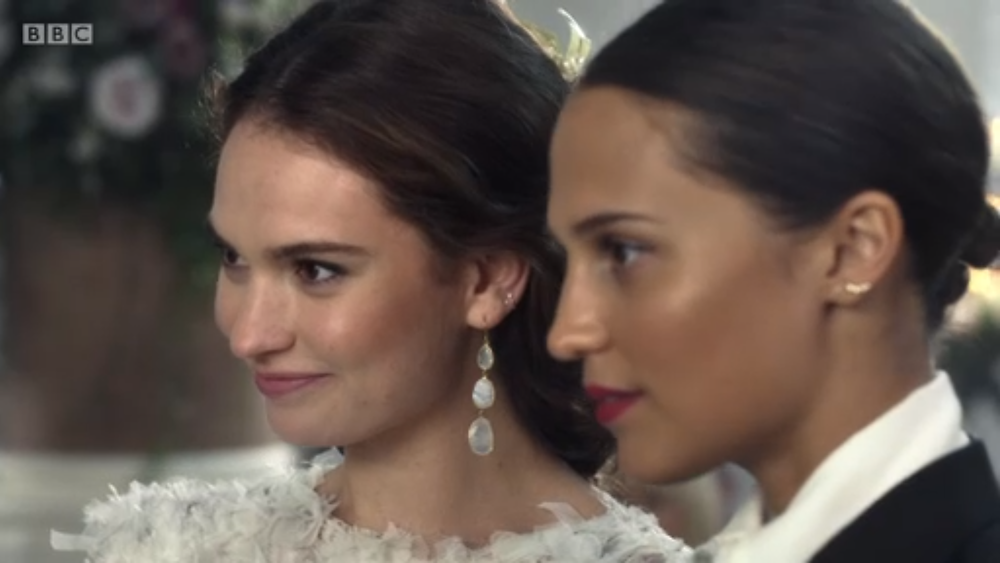 Lily James and Alicia Vikander at the altar in One Red Nose Day and a Wedding