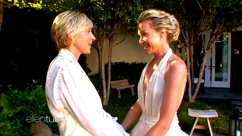 Ellen and Portia are celebrating their 10th wedding anniversary by releasing romantic footage from their big day.
