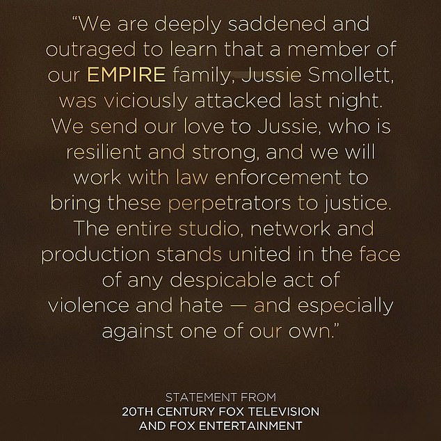 Fox studios statement expressing outrage at the attack on Empire star Jussie Smollett.