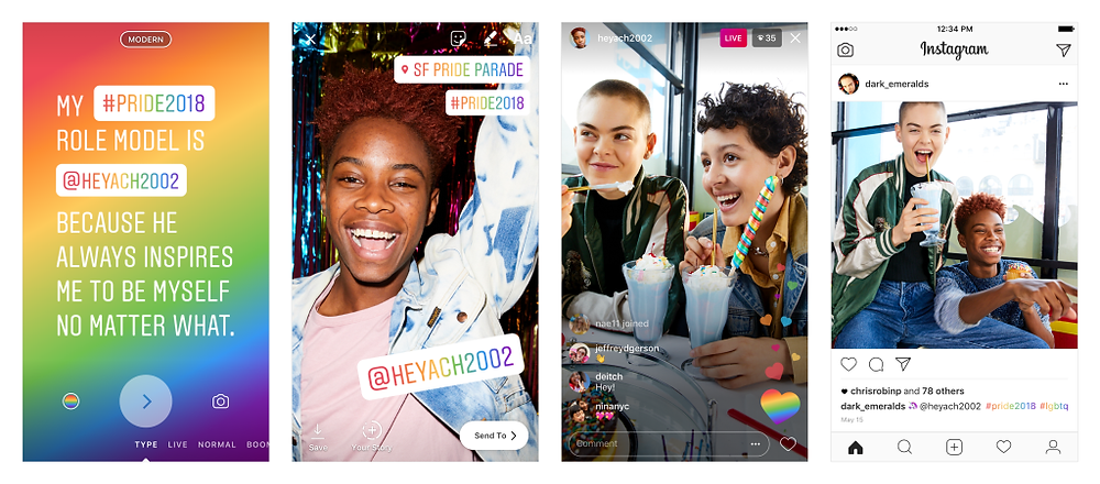 Instagram is celebrating Pride month with a range of rainbow options