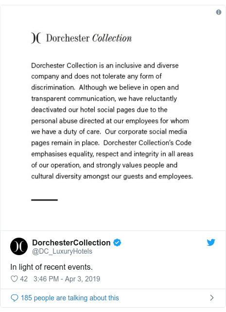 Dorchester Colection has shut its social media pages due to a backlash over anti-LGBT laws implemented in Brunei.