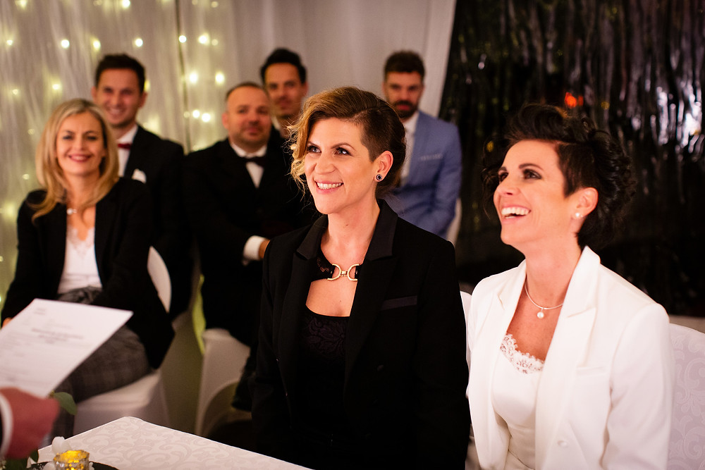 Austrian lesbian couple Nicole Kopaunik and Daniela Paier saying their wedding vows. They became the first same-sex couple to legally wed in Austria since same-sex marriage became law on January 1, 2019.