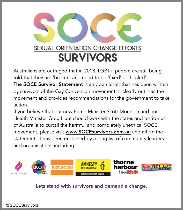 SOCE survivor statement sent to the Prime Minister of Australia and opposition leader Bill Shorten.