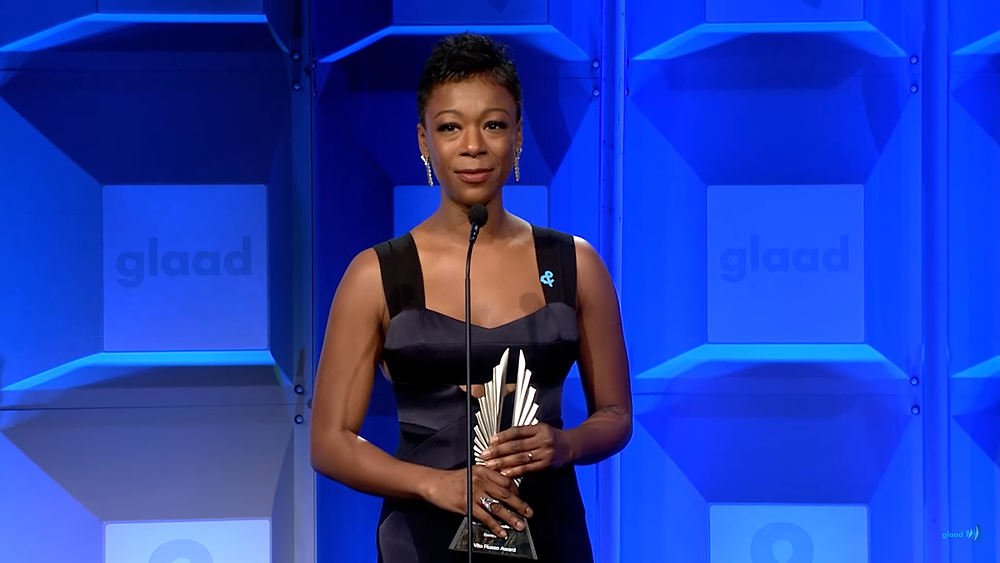 Samira Wiley gives a powerful speech to LGBTQ youth at the GLAAD media awards.