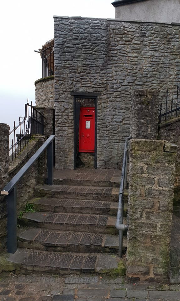 A red letter box in Lyme-Regis, part of the sets for new movie Ammonite, about fossil hunter Mary Anning