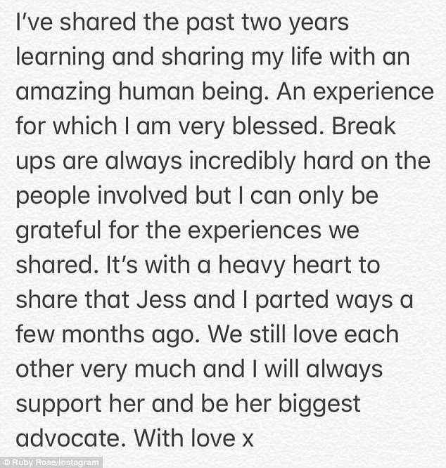 Ruby Rose has announced on Twitter that she has split with girlfriend of two years Jess Origliasso from The Veronicas.