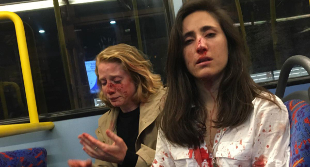 A lesbian couple were attacked by at leasat 5 teenage boys on a night bus in London on May 30.