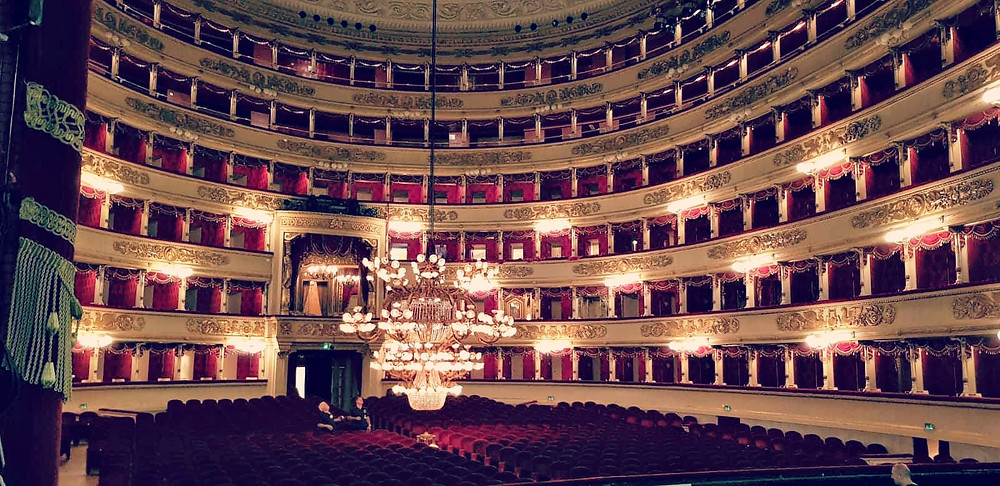 The interior of the world renowned La Scala theatre in Milan.