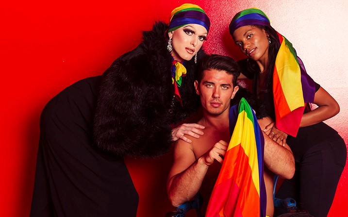 Drag Queen Mable Syrup, Chris McCubbin and bisexual actor and activist Kalida Edwards model Moga's Pride scarves