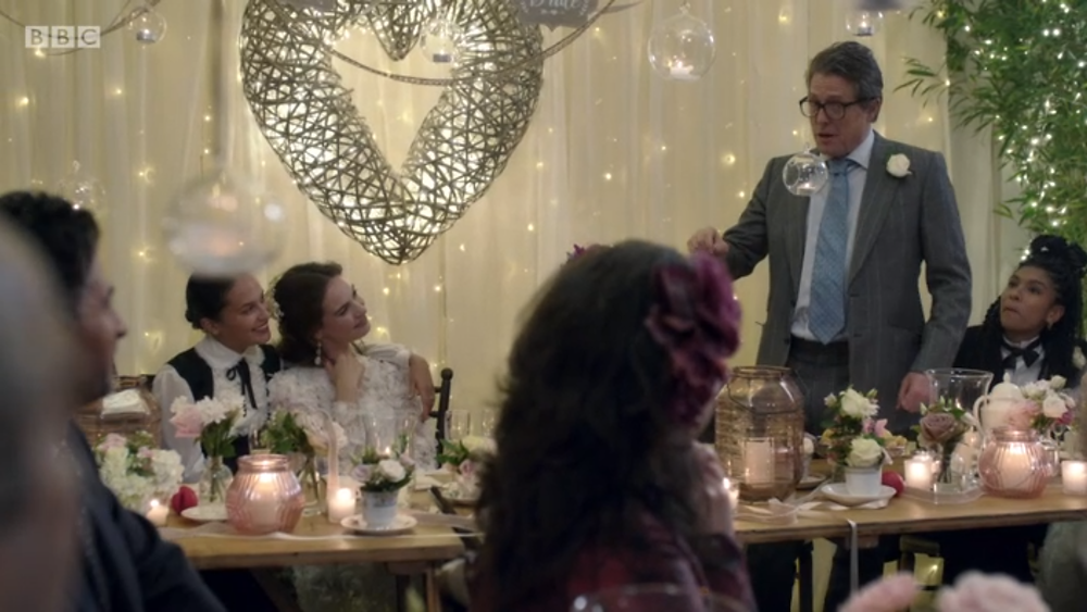 Hugh Grant gives his father-of-the-bride speech in One Red Nose Day And A Wedding