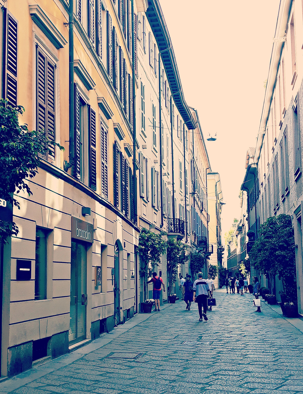 One of Milan's fabulous shopping streets in the famous fashion quadrangle.