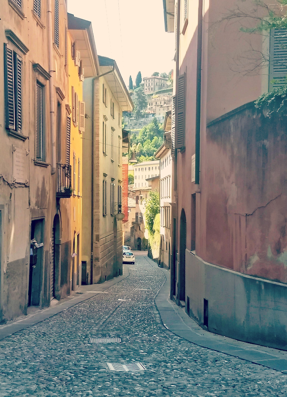 Little streets in beautiful Bergamo, Lombardia, Italy.