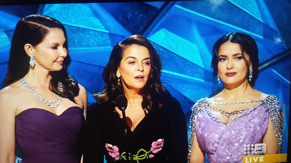 Actresses Ashely Actresses Salma Hayek, Ashley Judd and Annabella Sciorra presented a video on inclusion and equality. Each woman has accused Harvey Weinstein of sexual harassment.