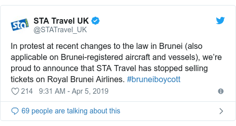STA Travel announced on twitter that it would stop selling tickets on Royal Brunei Airlines