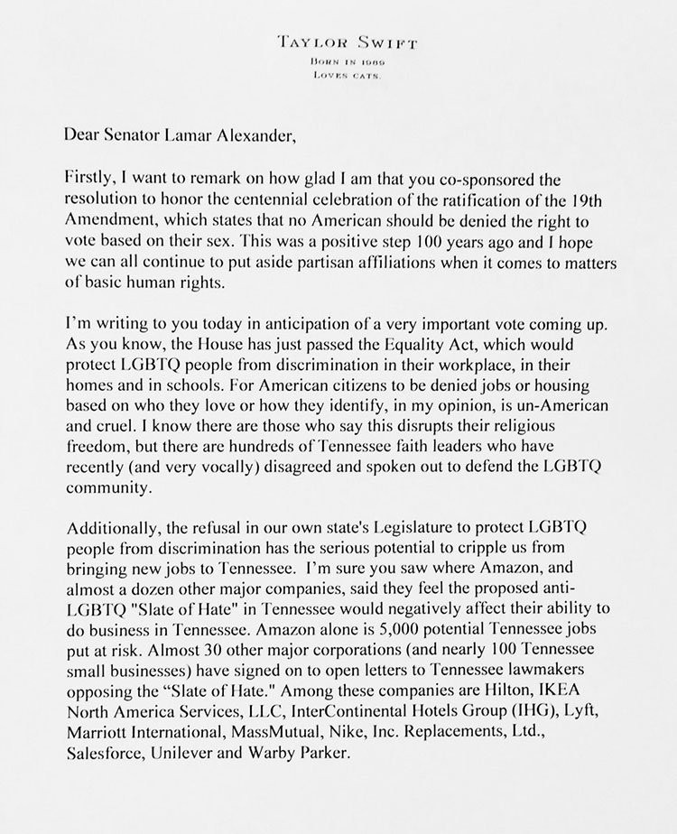 Page one of Taylor Swift's letter to her senator urging him to vote to pass the Equality Act, which protects LGBT+ people from discrimination