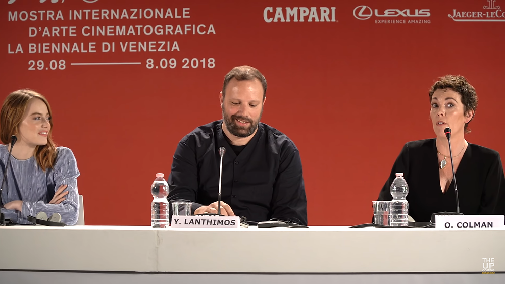Emma Stone, Yorgan Lanthimos and Olivia Coleman at the press conference for their film The Favourite at the Venice Film Festival