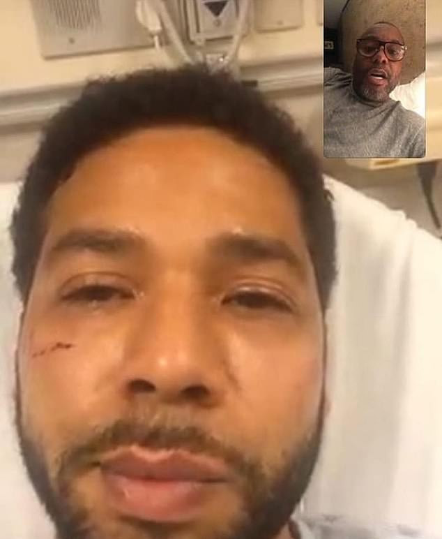 Jussie Smollett in hospital on Tuesday Facetiming with Empire co-creator Lee Daniels