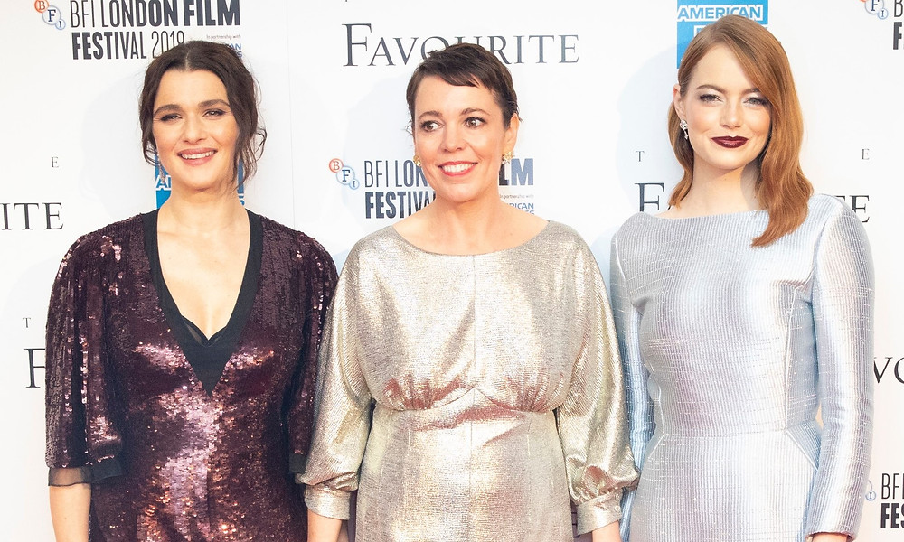 Rachel Weisz, Olivia Colman & Emma Stone at the London premiere of The Favourite, which is nominated for 12 BAFTA awards