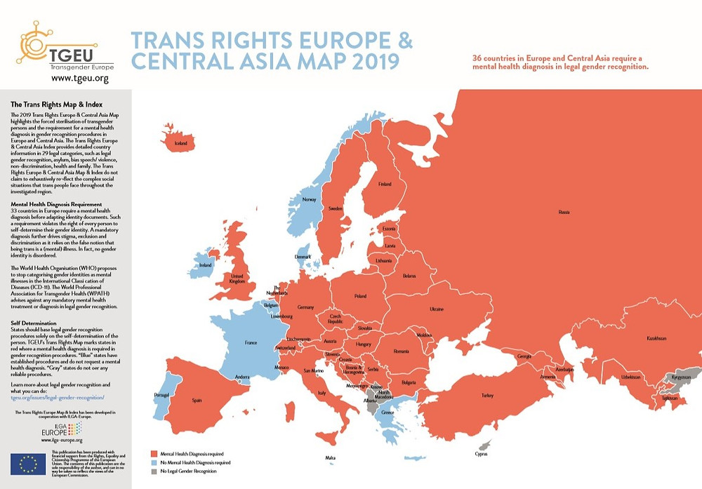 36 countries in Europe and central Asia need a mental health diagnosis before legally recognising transgender people