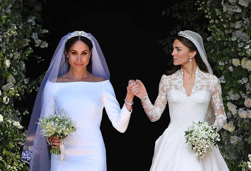It's the Markleton royal wedding. Meghan Markle and Kate Middleton's wedding days photoshopped into one beautiful lesbian wedding day.