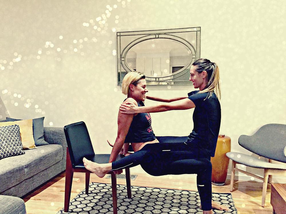 Personal Tranier Eleonora Celada and Karolina Kralj exercising together, doing Eleonora's couple's workout.
