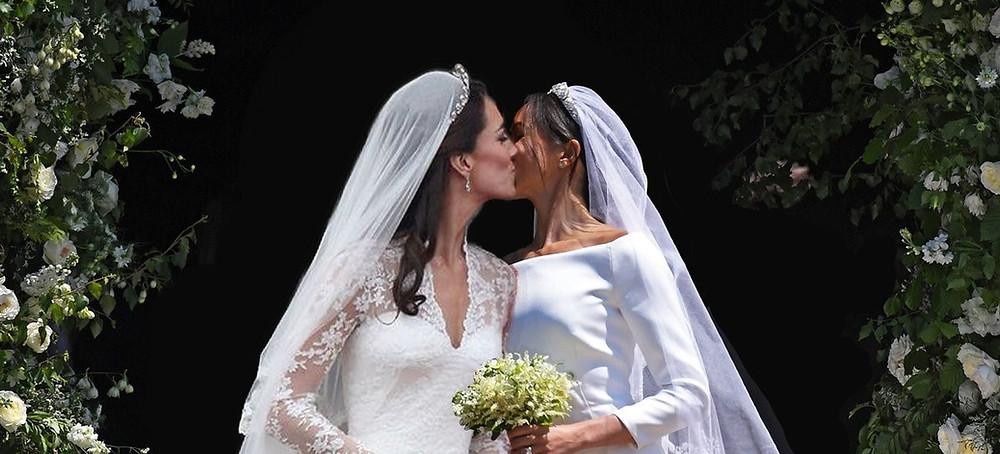 Markleton has arrived - a Twitter user has photoshopped photos of Kate Middleton & Meghan Markle's wedding days into one fabulous lesbian extravaganza.