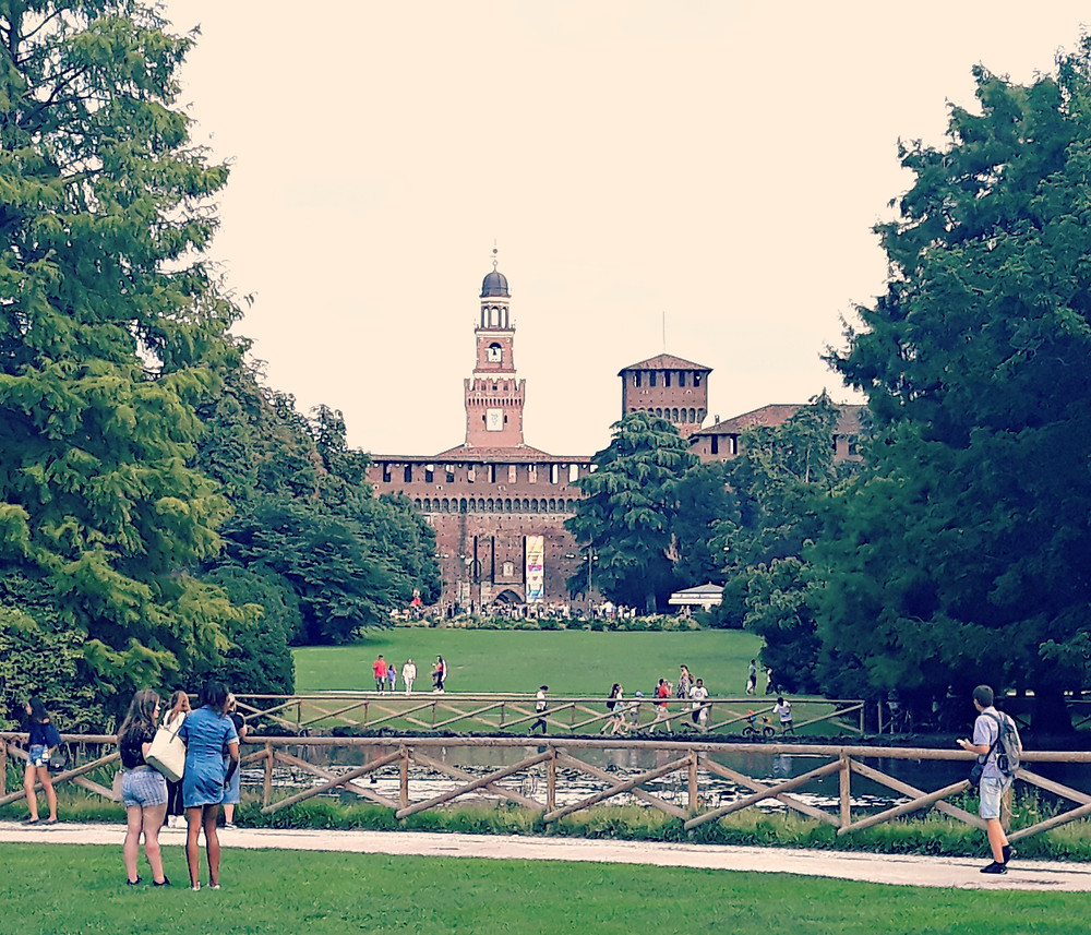 The view of Castle Sforza from Parco Sempione