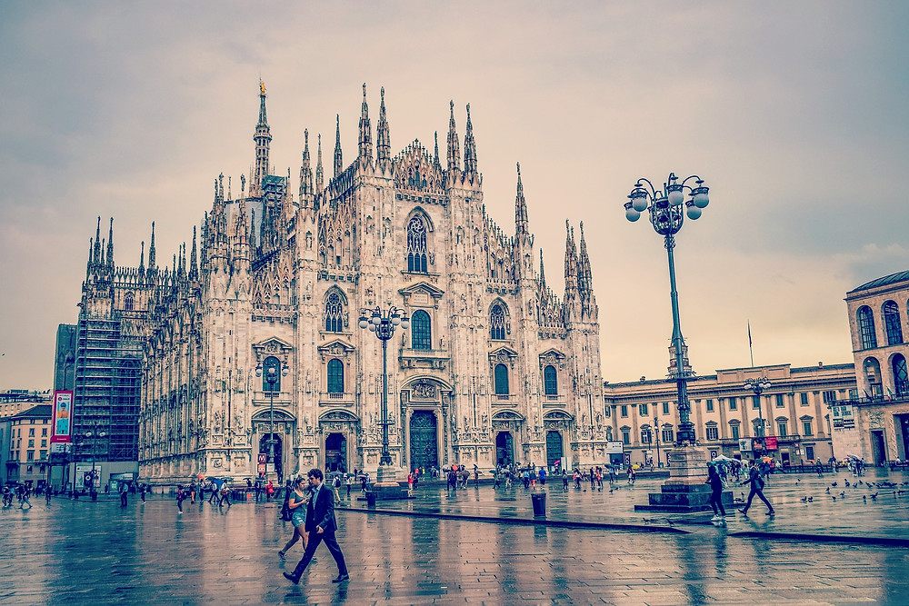 The Duomo in piazza Duomo Milan is a stunning example of gothic architecture.