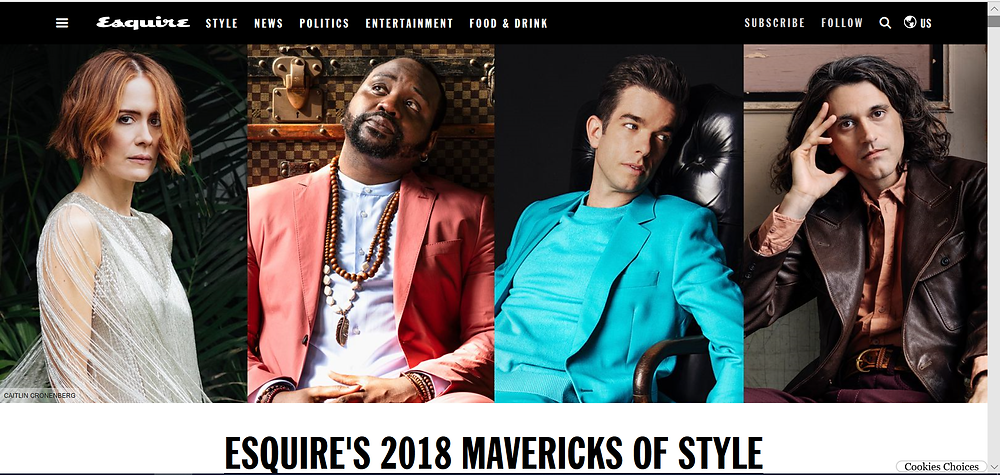 Sarah Paulson features in Esquire magazine's 2018 Mavericks Of Style feature.