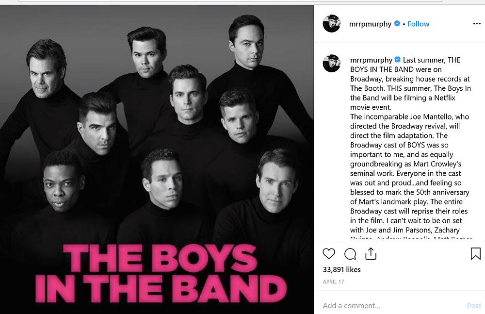 Ryan Murphy will adapt groundbreaking Broadway play The Boys In The Band into a Netflix original film starring the out and proud Broadway cast