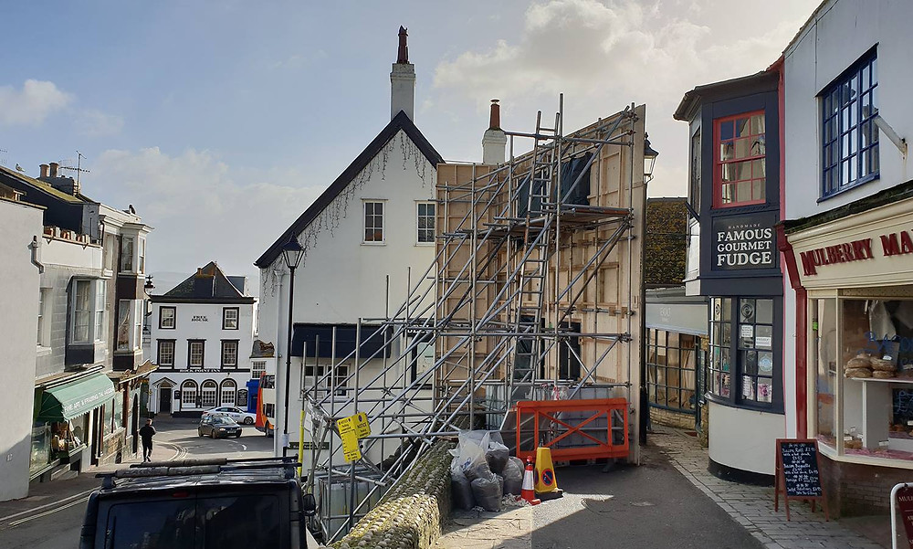 Lyme-Regis being transformed into a movie set for Ammonite