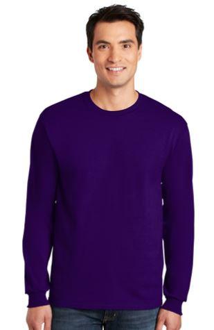 Gildan Long Sleeve Cotton TShirt Unisex Purple