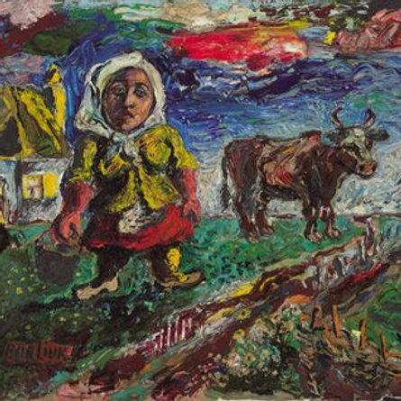 David Davidovich Burliuk   Peasant Woman with Cow