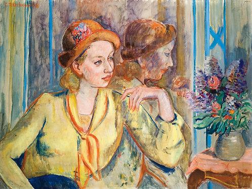 Constantin Terechkovitch Femme au chapeau fleuri