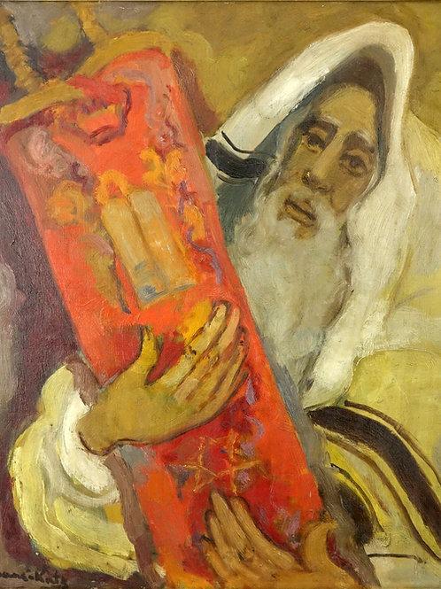 Mane Katz Rabbi with Torah scroll