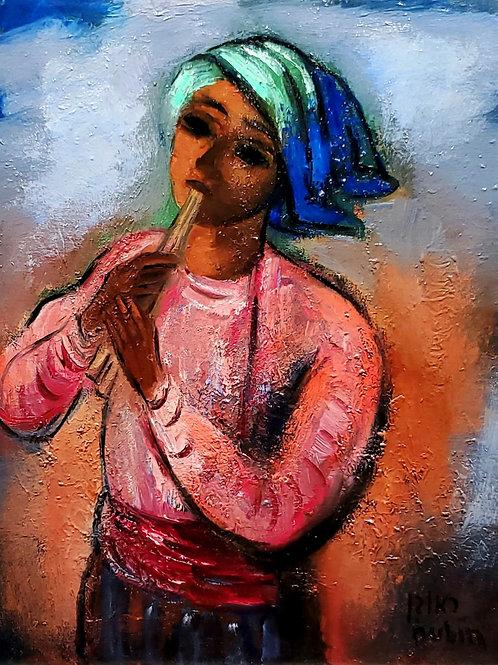 Reuven Rubin Flute player, 1970