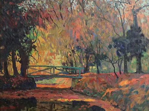 Bridge in the autumn woods