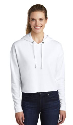 Sport Tek Ladies Crop Fleece Pullover White