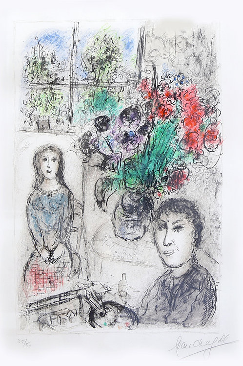 Marc Chagall Easel with flowers, 1976
