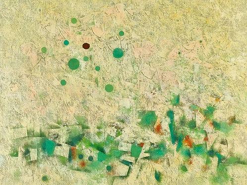 Mordechai Ardon   Black moon in green landscape
