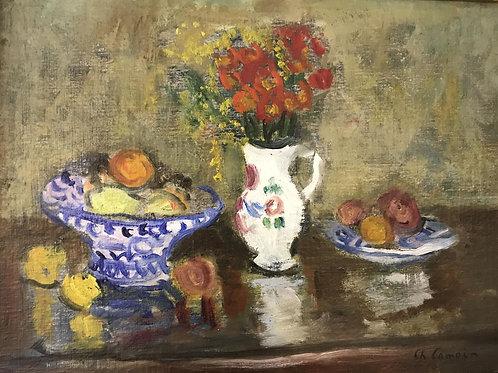 Charles Camoin   Bouquet de fleurs, assiette de fruits, c.1950