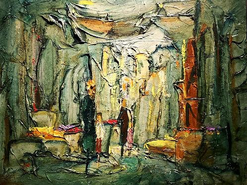 Zvi Raphaeli Street scene with figures