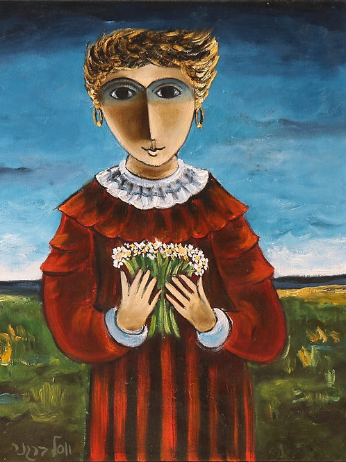 Yosl Bergner   A girl with a flowers