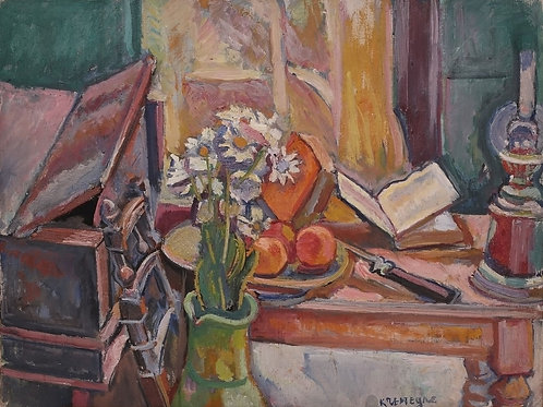Still life with oil lamp and flowers