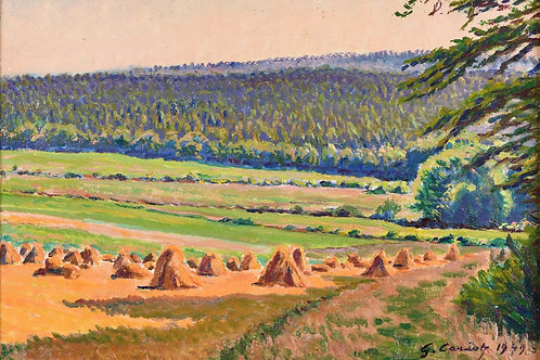 Cariot   Paysage aux bottes de paille et foret, 1949