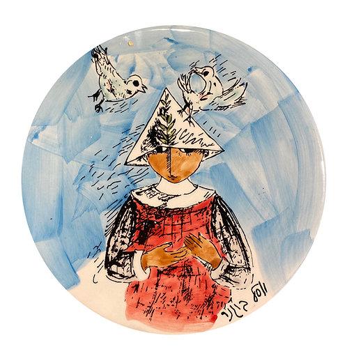 Yosl Bergner Boy ceramic plate