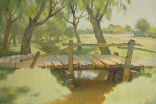 Landscape with wooden bridge over stream